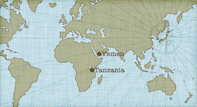 地図:中米・南米産のコーヒー