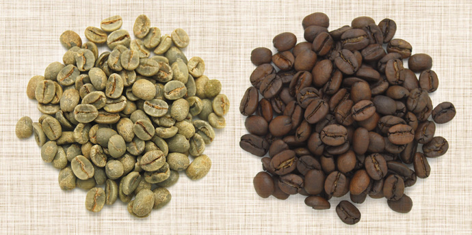コーヒー生豆と焙煎豆